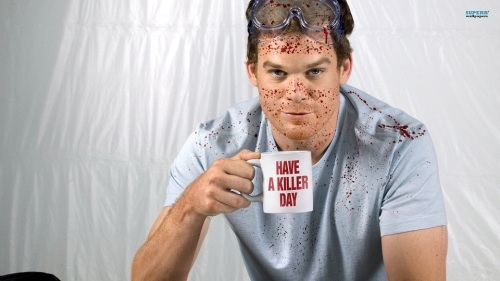Dexter, friendly and blood-splattered